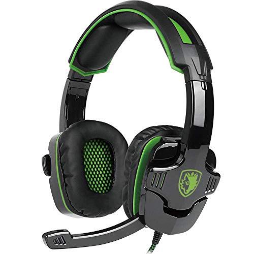 Dolby Digital Headset (Gaming headset, Sades SA930 Pro Gaming Kopfhörer mit Mikrofon Lautstärkeregelung 3.5mm On-Ear Surround Sound Ohrhörer für PS4 New Xbox One PC MAC Laptop (Schwarz & Grün))