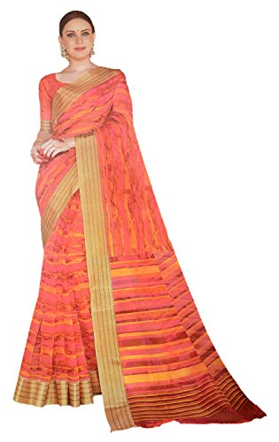 Apple Blossom Organza Silk Saree with blouse latest collection (orange)