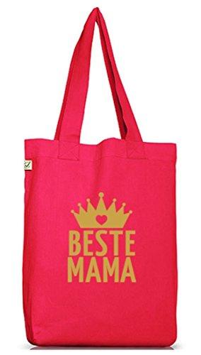 Shirtstreet24, Muttertag - Beste Mama Krone, Mutter Jutebeutel Stoff Tasche Earth Positive Hot Pink