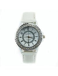 Estone – Mujeres Niñas Redondo Cristal Dial analógico de cuarzo de moda pulsera de piel reloj de pulsera Blanco blanco