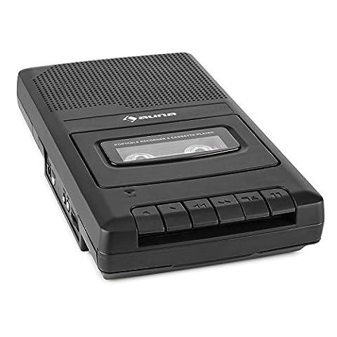 auna RQ-132 Lecteur cassette portable dictaphone enregistreur (enceinte intégrée pour une diffusion directe, prise microphone, sortie casque, extinction automatique)