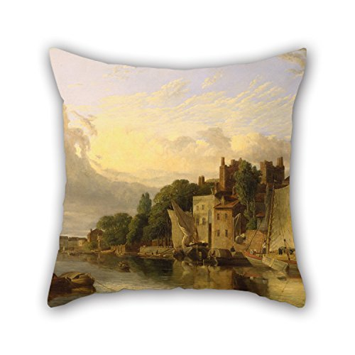 beautifulseason Oil Painting James Stark - Lambeth from The River Looking Towards Westminster Bridge Pillowcase,Best for Club,Chair,Kids,Christmas,Living Room,Bedding 16 X 16 Inches/40 by 40 cm(t
