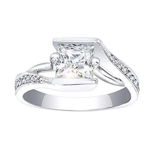 UINGKID Schmuck Damen Ring Einfacher und großzügiger kreativer silberner großzügiger Diamant-
