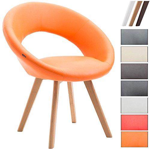 Clp sedia visitatore beck con schienale - sedia pranzo in similpelle i poltroncina imbottita con telaio in legno i sedia design moderno arancione colore base: natura