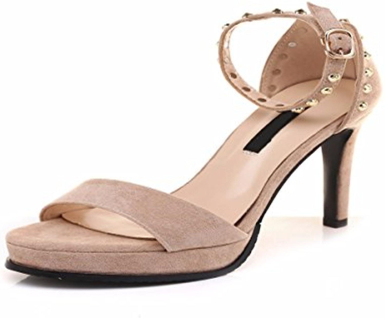46d0ec2678ba7b GTVERNH Comfort women s shoes Fine shoes Fine shoes Fine Sandals Summer  11Cm High Heel Shoes Buckles Rivets Waterproof Tables Sexy Nightclub.