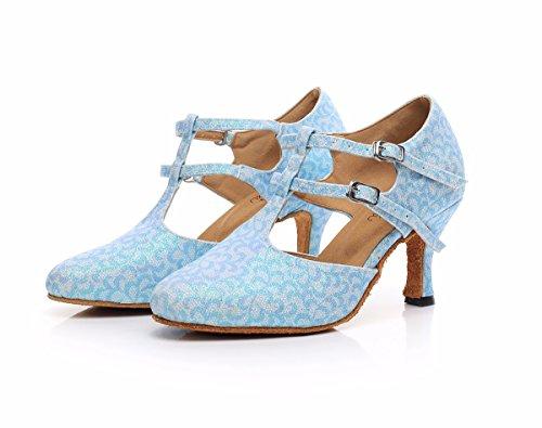 Femme Mystérieuse Chaussures De Danse Latine Avec Semelles Souples Sandales Femme Latine Chaussures De Danse Light Blue