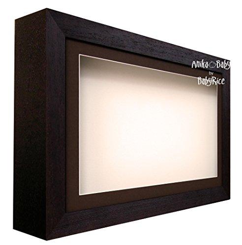 BabyRice Deep Shadow Box Display Gestell Holz-braun und Creme-für 3D-Objekte, Kunst, Ornaments, Hand Fuß Wirft (Fuß Wirft)