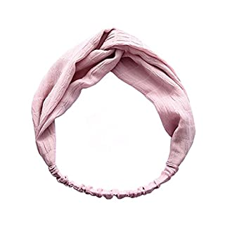 ANDAY Women Elastic Headband Vintage Face Wash Head Wrap Hairband Twisted Hair Accessory (Pink)