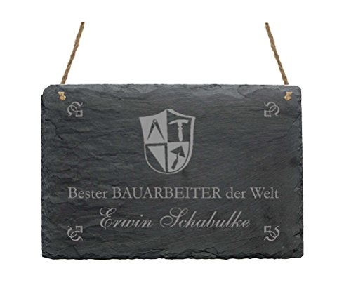 Schiefertafel « BESTER BAUARBEITER DER WELT » Schild mit MOTIV - Größe ca 22 x 16 cm - Bau Handwerk
