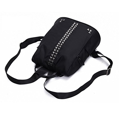 Damenmode Nieten Oxford Tuch Rucksack Mit Großer Kapazität Schulranzen Rucksack black