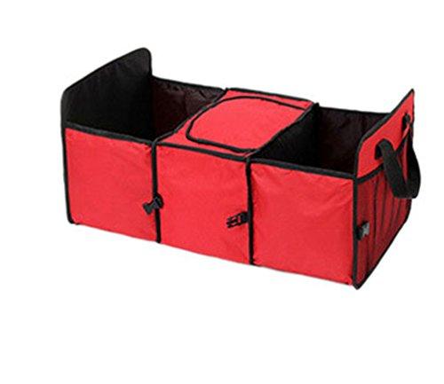 CHENGYANG Repliable Sac de Coffre de Voiture avec Compartiment Glacière et Rangement Boîte Organisateur (Rouge)