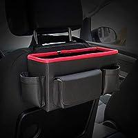 Tiunyeah Luxury Leather Car Seat Back Organizer Large Capacity Headrest Hanging Storage Box