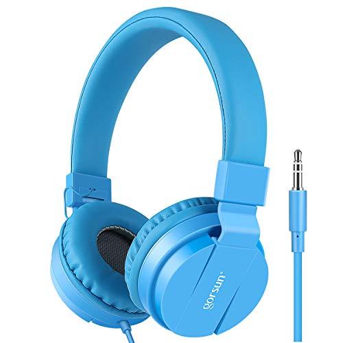 Gorsun® Premium Kinderkopfhörer, Faltbare Kopfhörer für Kinder, verstellbare Leicht-Kopfhörer für Jungen und Mädchen-Blau