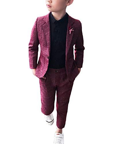 Niño Chico Traje Formal Plaid Conjunto Dos Piezas Manga Larga Blazer Pantalones Set Vino Rojo 140