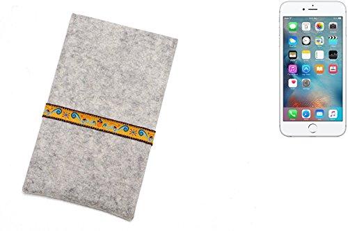 """flat.design Filzhülle """"Lisboa"""" für Apple iPhone 6s Plus - passgenaue Handytasche aus 100% Wollfilz (anthrazit) - made in Germany Schutz Case für Apple iPhone 6s Plus Eichhörnchen - hellgrau"""