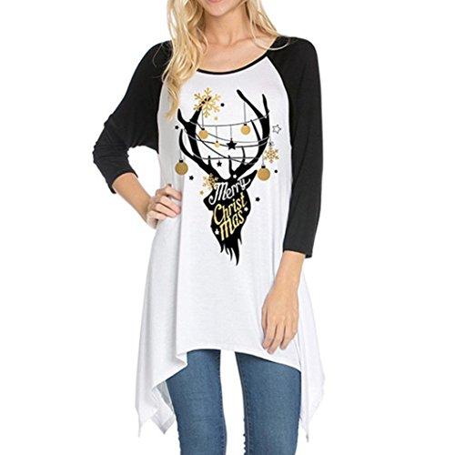TWIFER Damen Weihnachten Elch Pullover Langarm-Shirt Lose Sweater