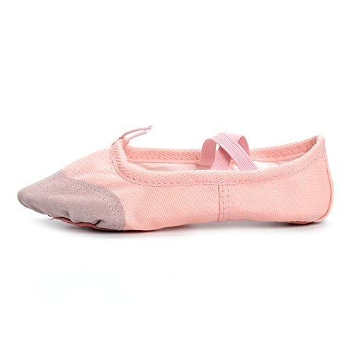 Estamico Mädchen und Frauen Classic Ballett flache Tanzschuhe Rosa