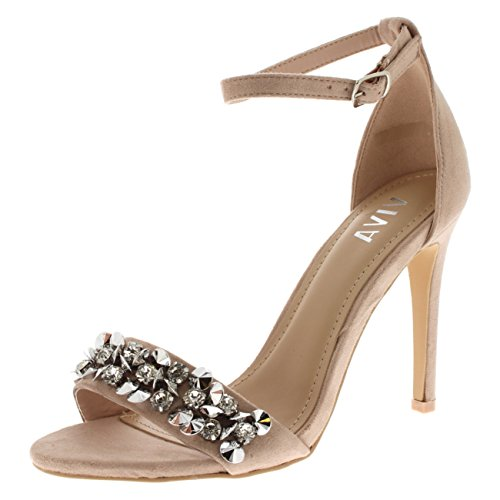 a39aefa302e4d0 Viva Womens Diamante Front Strap Ankle Strap Party Sandals High Heels Shoes  - Nude KL0259C 6UK