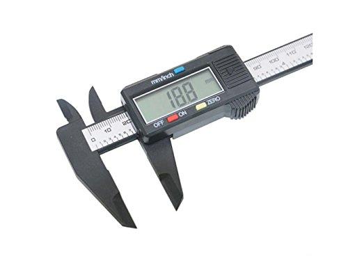 Plsonk Hausbedarf 150mm / 6inch LCD Digitale Elektronische Kohlefaser Messschieber Mikrometer (Schwarz) Startseite Accesserios