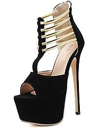 Sandalias de Mujer SeñOras Womens Heels Sandalias Nupciales Kitten Heeled Zapatos De Estilete Plataforma A Prueba...