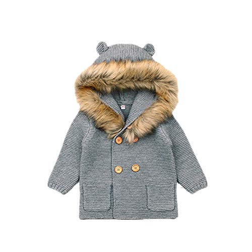 iBaste Unisex Baby Overalls Baby Mantel Jacken Oberbekleidung Baby Herbst Winter Baby Jumpsuit Pullover Kapuzenjacke Gestrickte Baby Langarm mit Kapuze Strickjacke