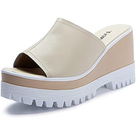 pendio Pantofole donna/ che porta la versione coreana di estate sandali/Spessa pelle moda tacco alto Sandali e infradite donna/ pantofole all