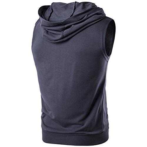 Zhhlinyuan gemütlich Mens Sleeveless Zipped Hooded T-Shirt Vest Tops with Pockets Dark Gray
