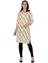 BLUEPOCKET Kurti / Kurta For Women (Cotton, Straight, Long, Beige With Brown Print)
