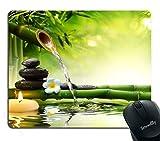 Alfombrilla de ratón para Juegos de Naturaleza, Piedras de SPA en el jardín con Flujo de Agua, diseño de Flores de jazmín japonesas