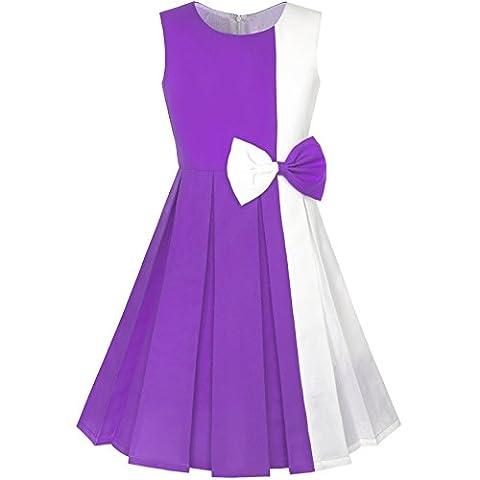 Mädchen Kleid Farbe Blockieren Kontrast Bogen Binden Lila Weiß Gr. 146