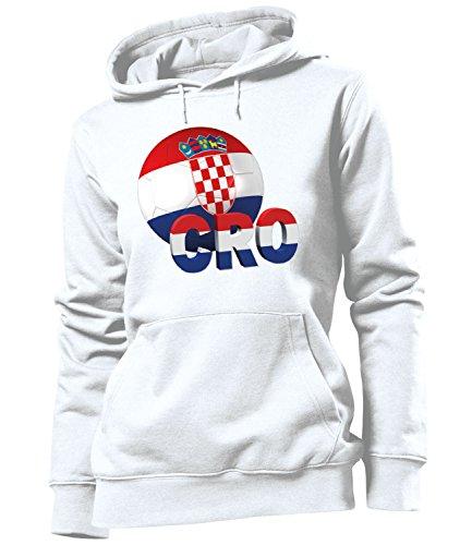 love-all-my-shirts Kroatien 5148 Fussball Fanhoodie Frauen Damen Hoodie Pulli Kapuzen Pullover Fanartikel Kapuzenpullover Weiss S