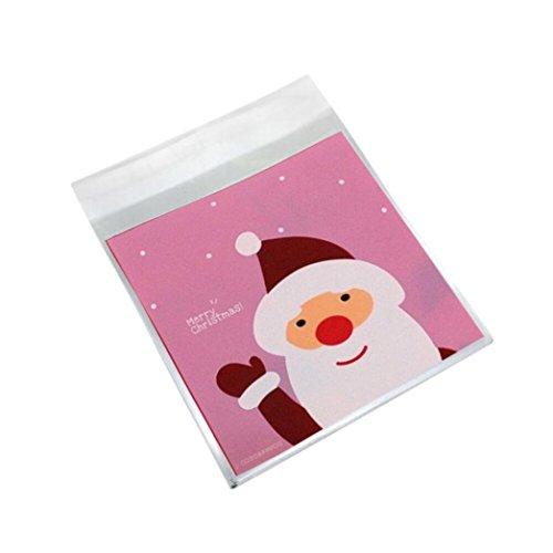 Jamicy® Süßigkeiten Tüten 100stück Weihnachten Tüten Taschen Selbstklebend nahrung Transparent Schneeschuhe für Partei (Rosa)