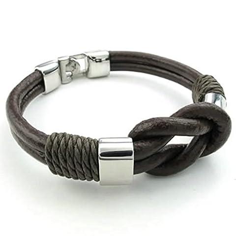 Beydodo Stainless Steel Leather Bracelets for Mens Women Cuff Bracelets 9 IN Length Brown Silver