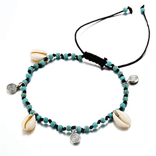 JLDMAI Boho Ocean Beach Kauri Muschel Knöchel Armband handgefertigt einstellbare String Makramee Muschel Muschel Fußkettchen für Frauen Fußschmuck (Knöchel Armbänder String)