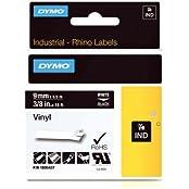 Dymo 1805437 Rhino Vinyl-Etiketten (für die Industrie, 9 mm x 5,5 m, Selbstklebend) schwarze Schrift auf weiß