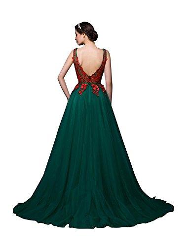 Beauty-Emily -  Vestito  - linea ad a - Senza maniche  - Donna Verde scuro