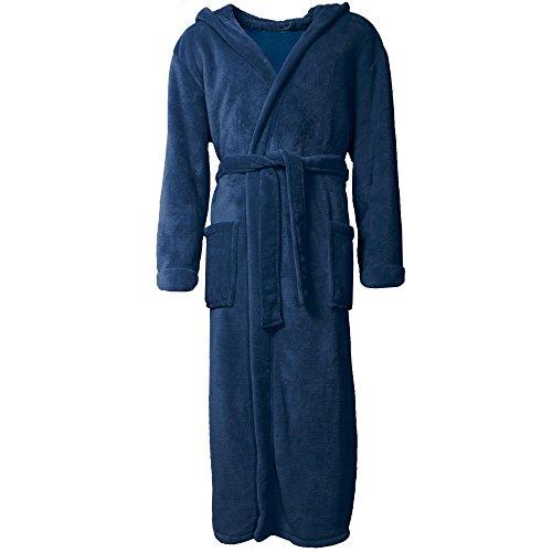 Bademantel mit Kapuze für Damen & Herren | alle Größen viele Farben | weiches und super flauschiges Coralfleece | aqua-textil 1000410 Serie Malibu XS blau