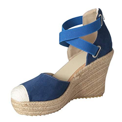 VJGOAL Damen Sandalen, Frauen Elegant High Heels Sommer Mode Retro Stroh Reißverschluss Hinten Sandalen Shoes for Women(Blau,36) -
