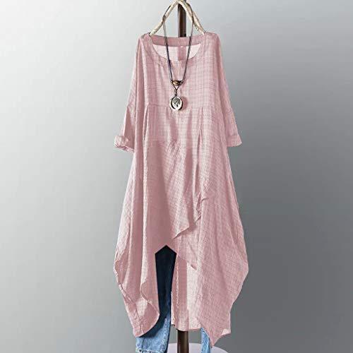 lose Kleid-Baumwollweiche beiläufige tägliche O Ansatz-Lange Hülsen-Aufflackern-Plaid-unregelmäßiger Rand Strand ()