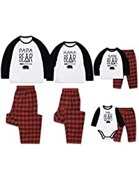 73c96afcb Zhhlinyuan Conjunto de Pijamas Iguales de Familiar Navideño Algodón Manga  Larga Camiseta Papa MAMÁ Baby Estampada