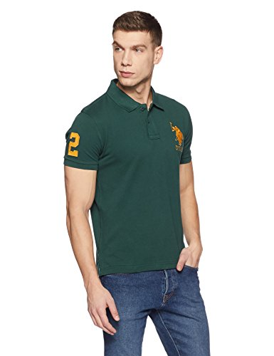 US Polo Association Men's Solid Regular Fit Polo (USTS5786_Trekking Green_M HS)