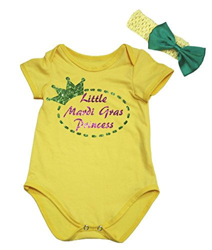 Petitebelle Little Mardi Gras Princess Yellow Bodysuit Romper Set Nb-18m (6-12 Months)