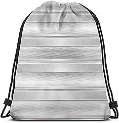 Kordelzug Rucksack Unisex Tasche für Fitnessstudio Reisen, Trippy Streifen mit hölzernen Zick-Zack-Effekten Party Featured Image Print