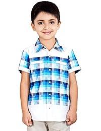 Naughty Ninos Blue Check Half Sleeve Shirt with White Trim