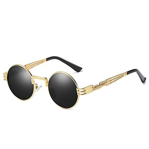 RYRYBH Sonnenbrillen Herren & Damenmode Polarisierte Trends Retro Sonnenbrille Punk Brille Runde Strand Sonnenbrille Metallrahmen Sonnenbrille Sonnenbrille (Farbe : Gold, größe : One Size)