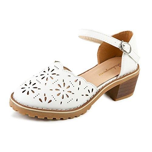 Ladies of England au printemps vent sandales plates/chaussures légères tête rétro/chaussures avec étudiants creux A