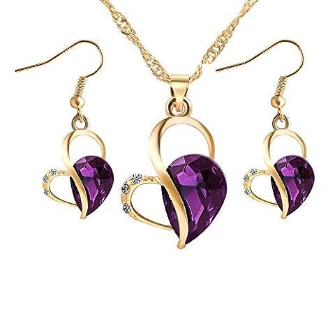 Hot Sale Fashion Elegant Alloy Rhinestone Heart Shaped Necklace And Drop Earrings Jewelry Set,Purple