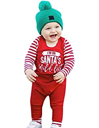 Selou Gestreifter Overall des Jungenmädchen Buchstaben Stitching Weihnachten Kleidung Vier-Jahreszeiten Mantel Roter Overall Nette Kinderkleidung Schöne Urlaub benutzerdefinierte Kleidung