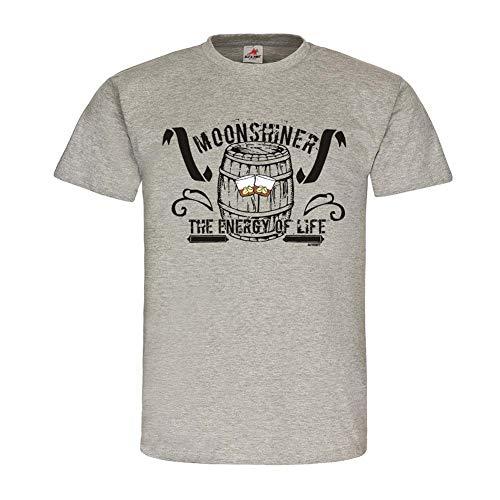 Moonshiner The Energy of Life Getränke Alkohol Longdrink Party Holzfass T-Shirt #23961, Größe:L, Farbe:Grau