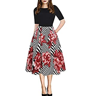 Gofodn Dresses for Women Plus Size Elegant Vintage Small Floral Printing Short Sleeve Round Collar Evening Party Dress White